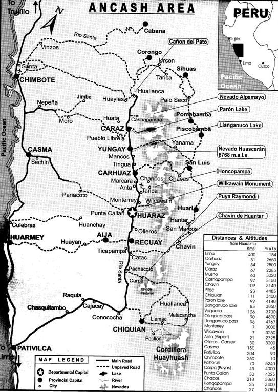 Peru, treks, climbs, hiking, - Ancash-huaraz-map