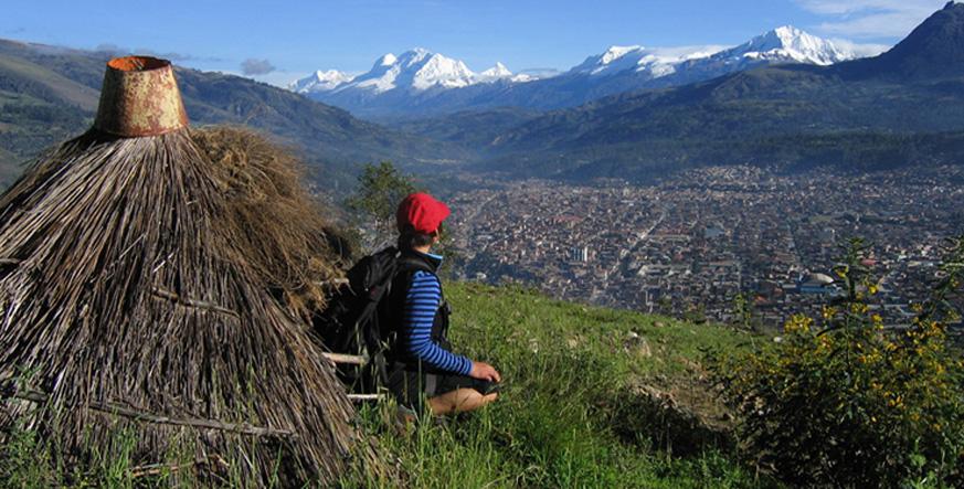 Peru, treks, climbs, hiking, - looking-down-to-huaraz-city