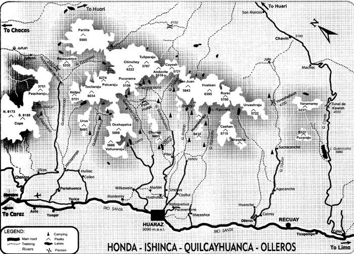 Peru, treks, climbs, hiking, - Cordillera-Blanca-trek-map
