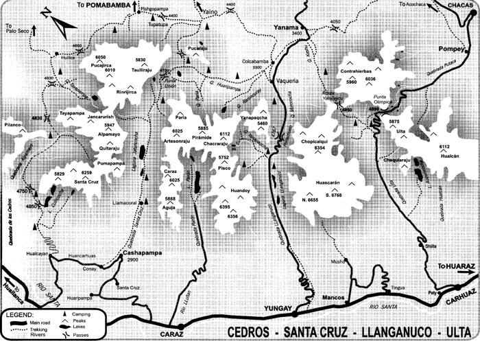 Peru, treks, climbs, hiking, - cordillera-blanca-treks-map