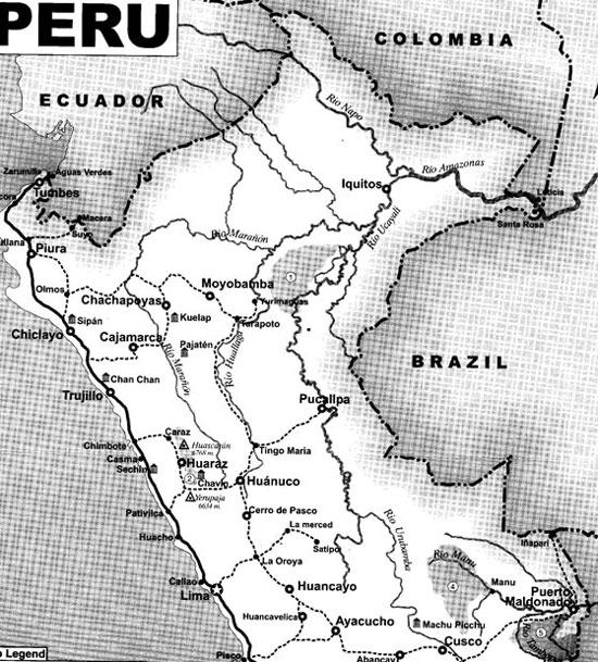 Peru, treks, climbs, hiking, - Peru-trek-map