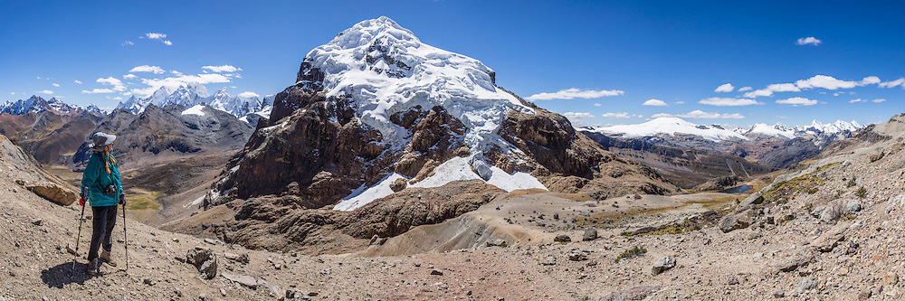 Peru, treks, climbs, hiking, - Punta Cuyoc pass trekker, Nevados Puscanturpa, Cordillera Huayhuash, Peru